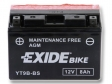 Exide Bike Maintenance Free AGM 12V 8 Ah 110A YT9B-BS